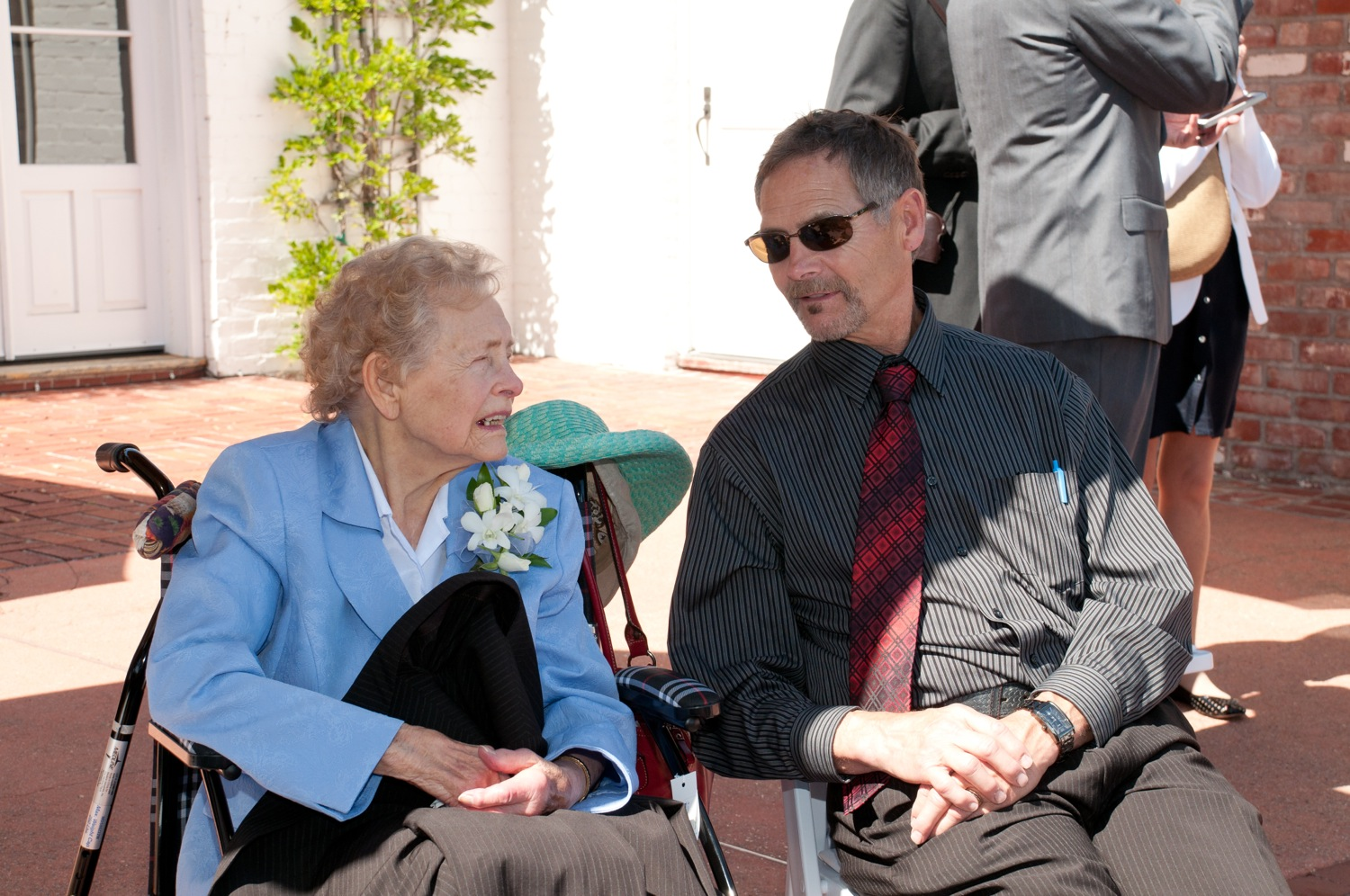 Grandma Mary and Tim relax before the ceremony.