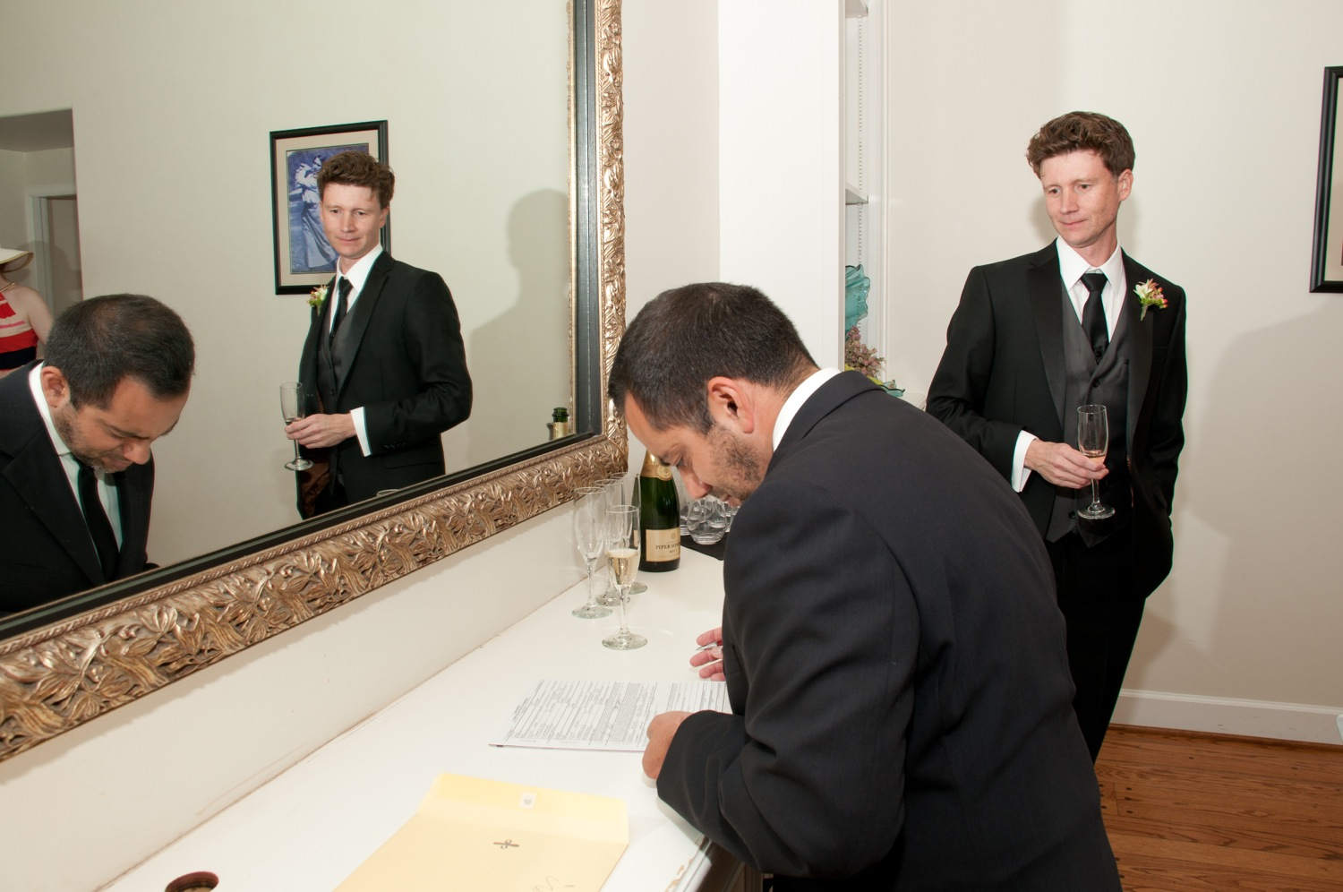 Christian prepares the marriage certificate.