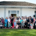 All the wedding guests in front of the Hollins House.