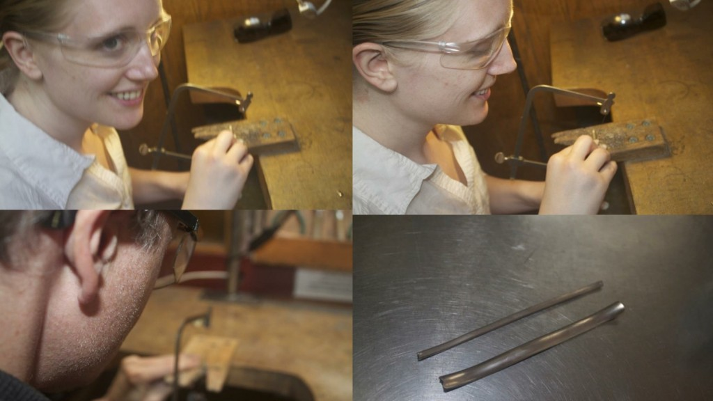 Cutting the rolled gold to the size of the final ring diameter.