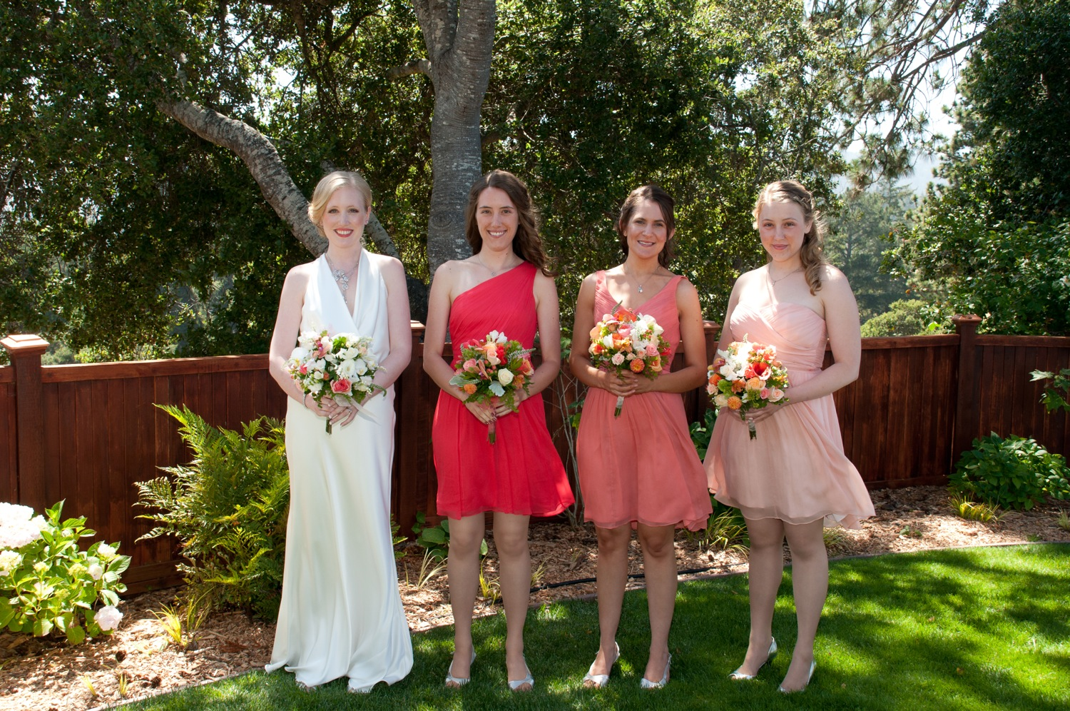 Elizabeth, Christine, Kelly, and Kathryn sporting their own styles.  Rather than going for uniformity, each bridesmaid had a different color and cut to express themselves.